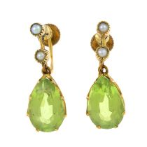 A pair of early 20th century 9ct gold peridot and split pearl earrings.