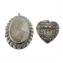 Two silver lockets.