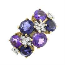 A 9ct gold amethyst, iolite and diamond ring.