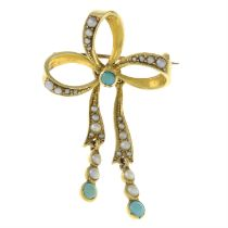 An early 20th century split pearl and turquoise bow brooch.