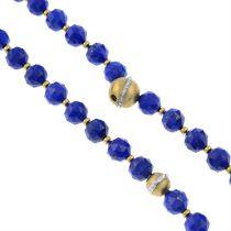 A lapis lazuli faceted bead, interchangeable necklace and bracelet set.