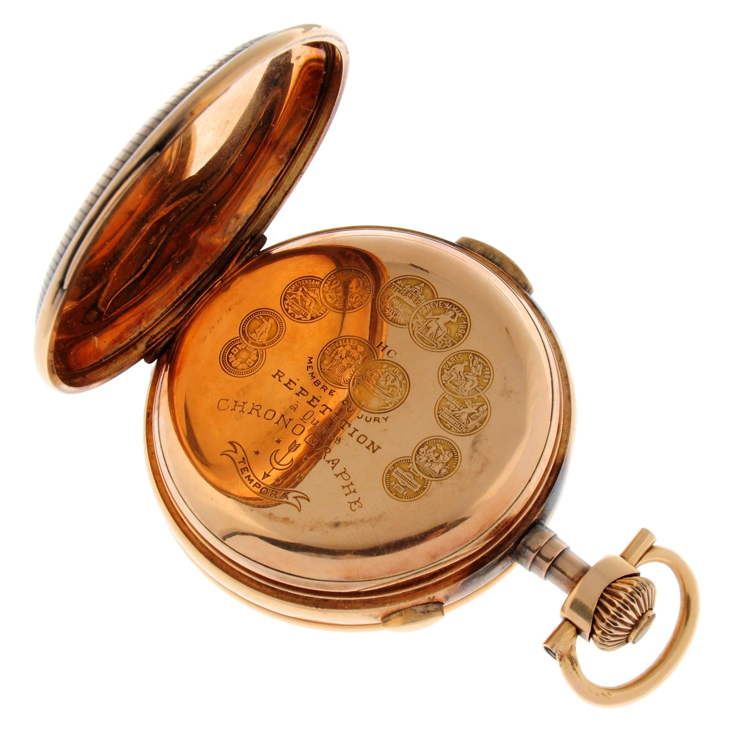 A full hunter chronograph repeater pocket watch. - Image 3 of 4