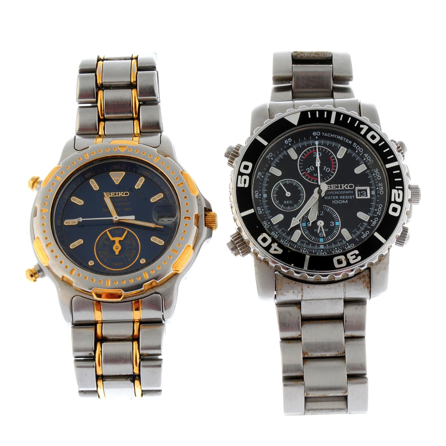 A group of four assorted Seiko watches, to include three chronograph examples.