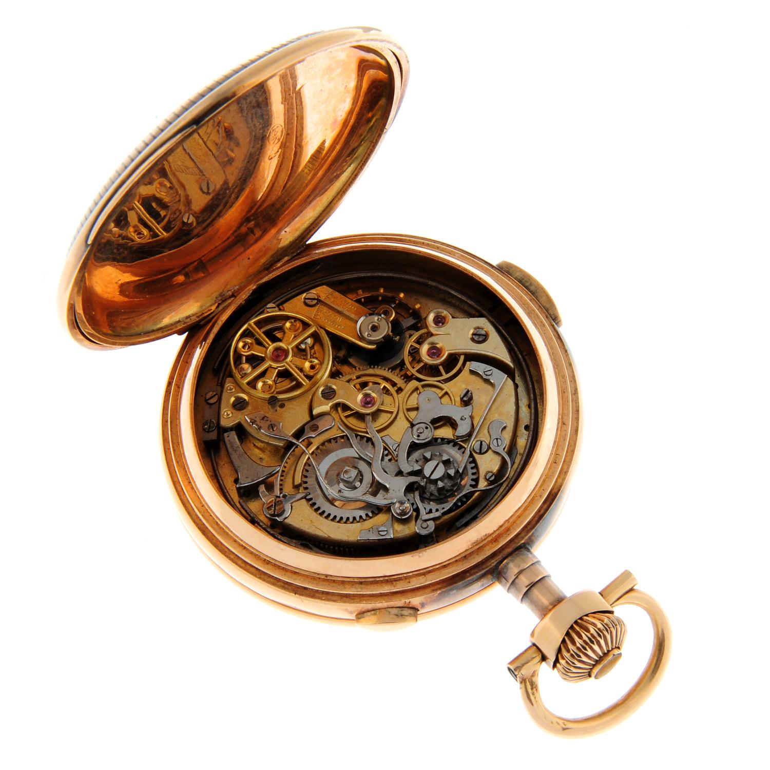 A full hunter chronograph repeater pocket watch. - Image 4 of 4
