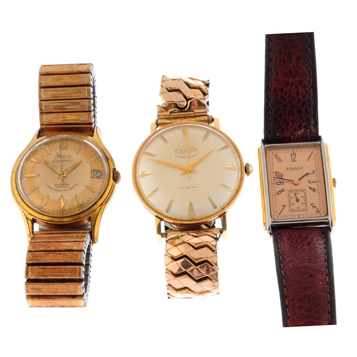 A group of five wrist watches, to include an example by Enicar and Tissot.