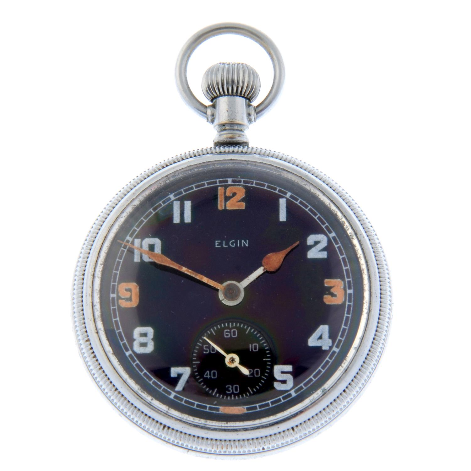 A military issue open face pocket watch by Elgin.