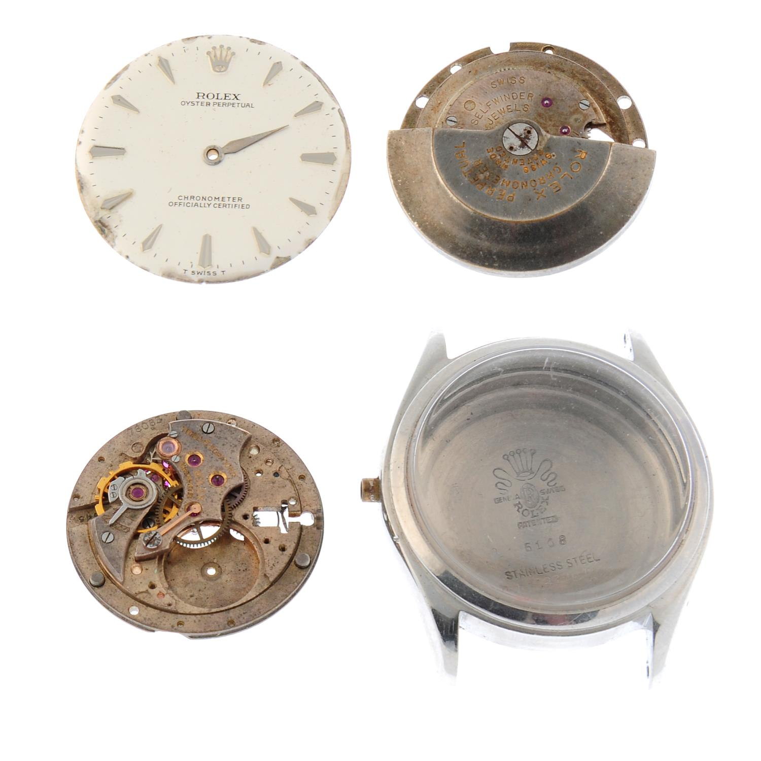 ROLEX - an Oyster Perpetual watch dial together with two incomplete signed Rolex movements and a