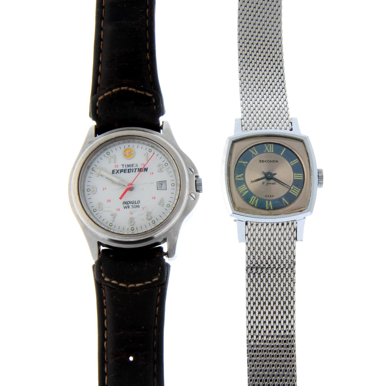 A bag of assorted watches.