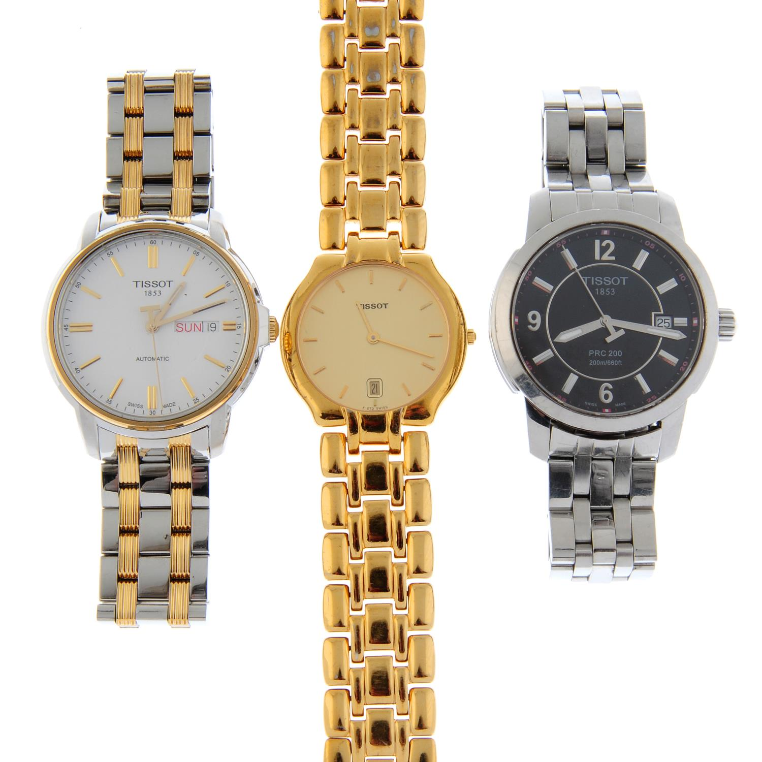 A group of six assorted Tissot watches.