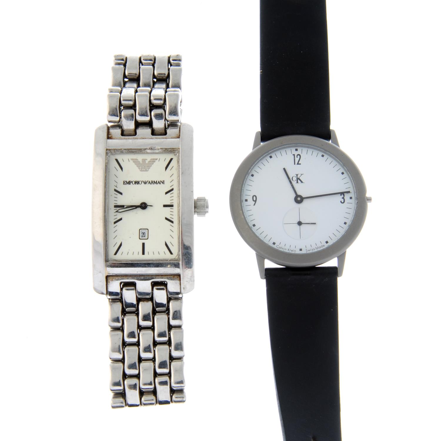 A group of assorted watches, to include examples by FCUK, Emporio Armani and CK.