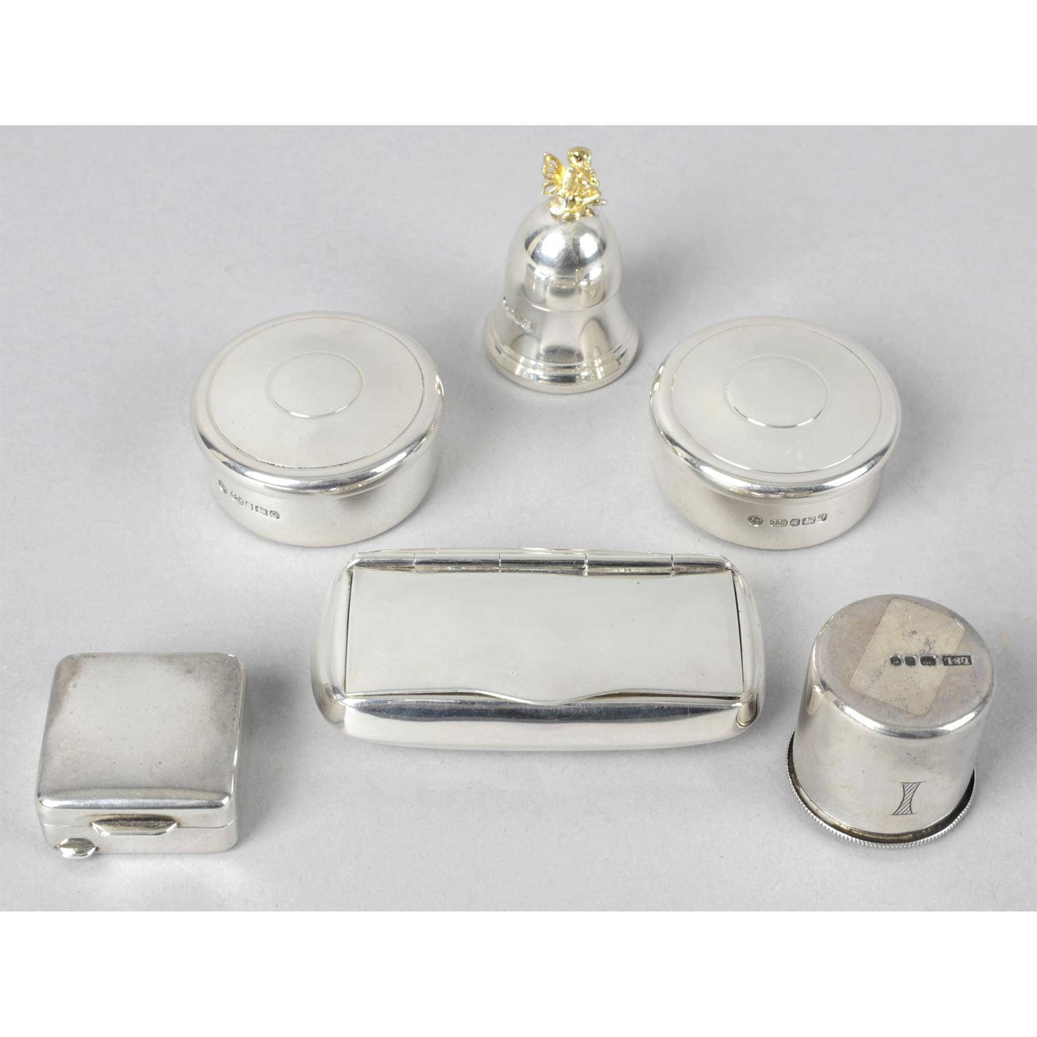 Two silver circular boxes, together with four other silver boxes. (6).