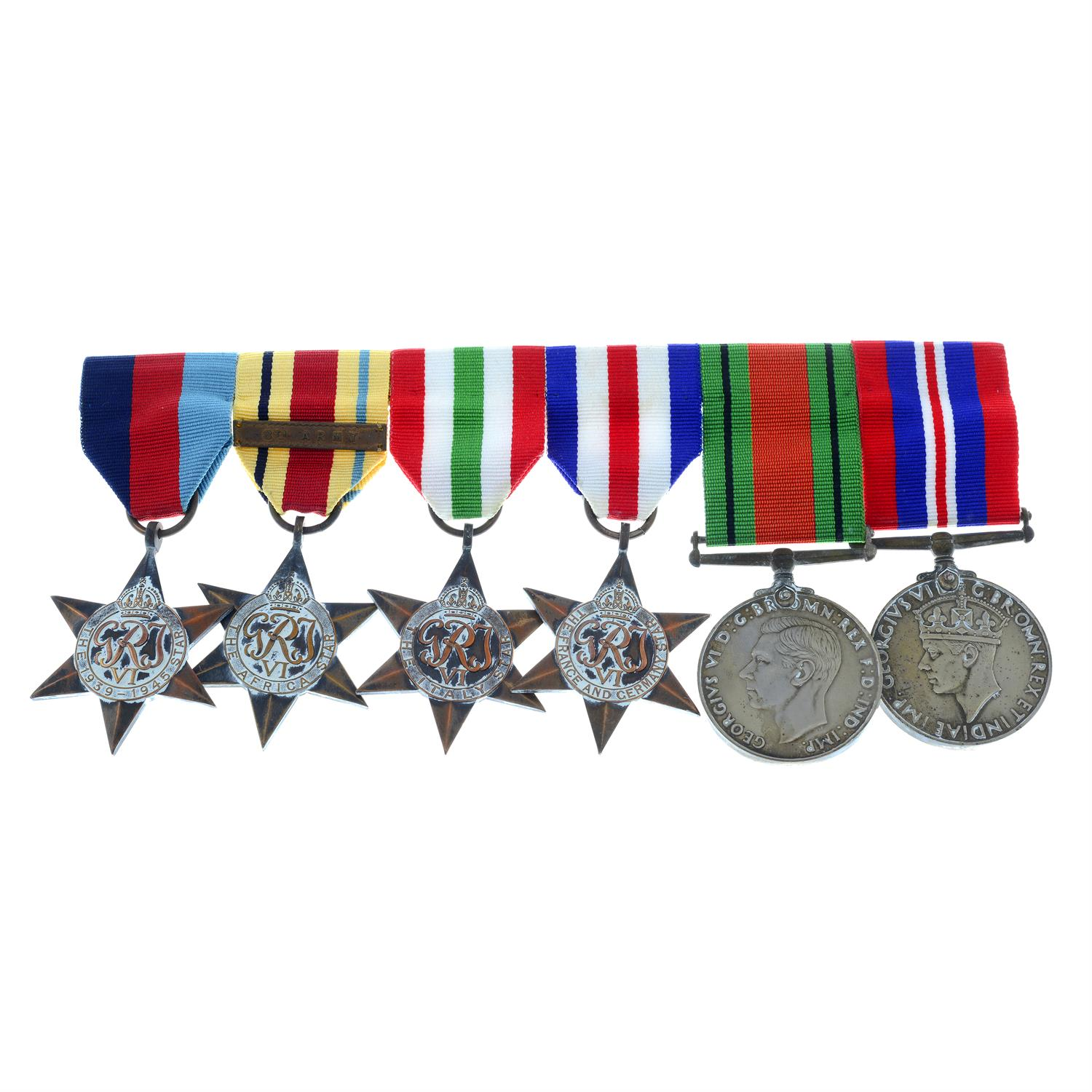 WWII medal group, comprising six medals, together with a Beaufort whistle, Forfar Yeomanry badge,