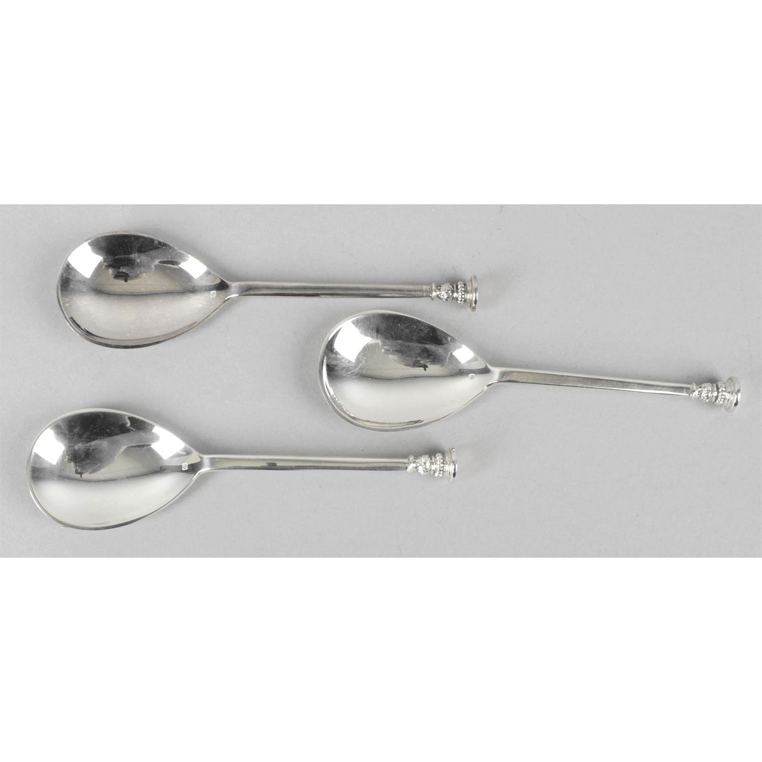 Three silver reproduction 16th century style seal-top spoons. - Image 2 of 2