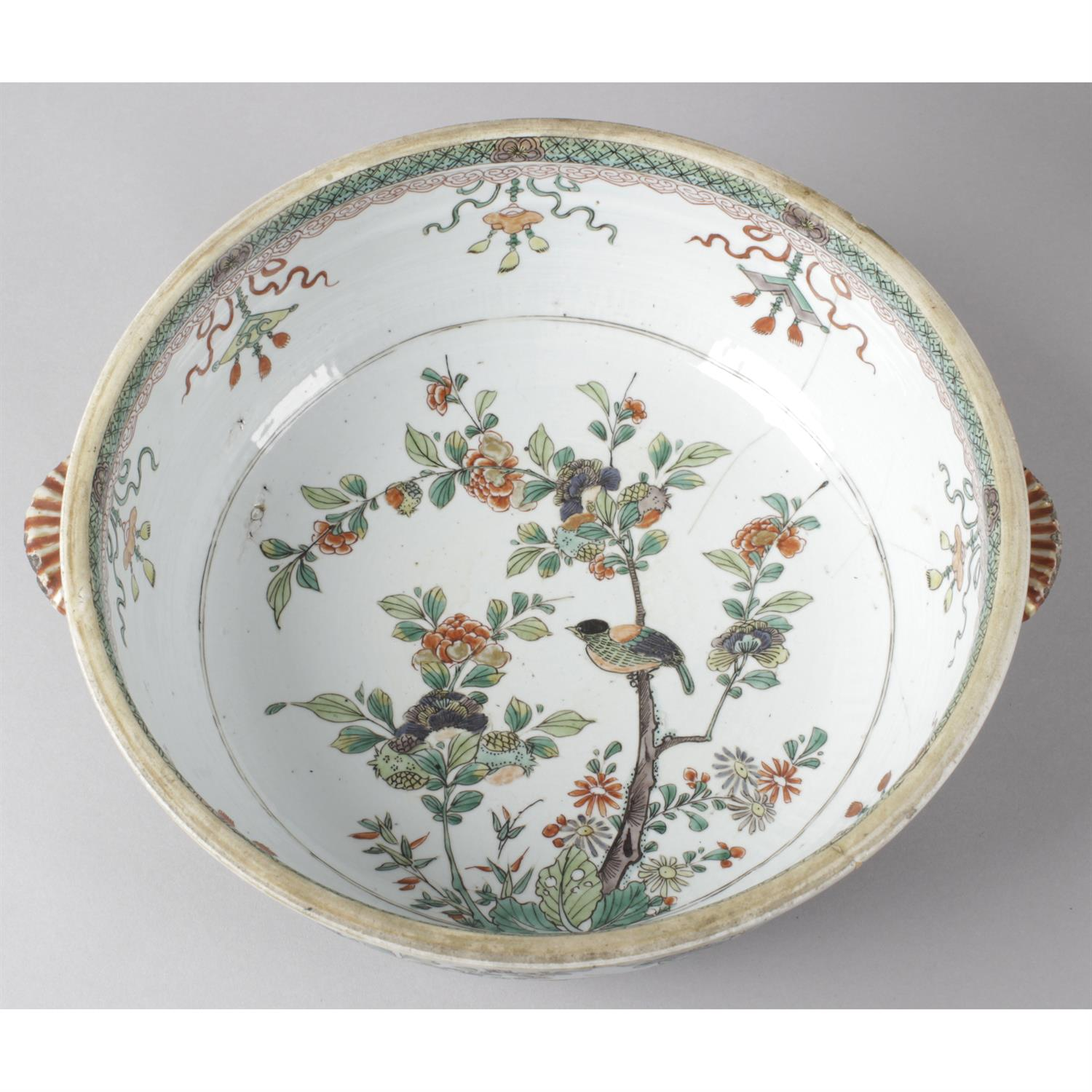 A twin handled oriental dish with cover together with an Imari bowl. - Image 2 of 3