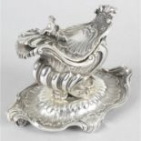 A 19th century French silver mustard or sauce boat on stand, by Maison Odiot.