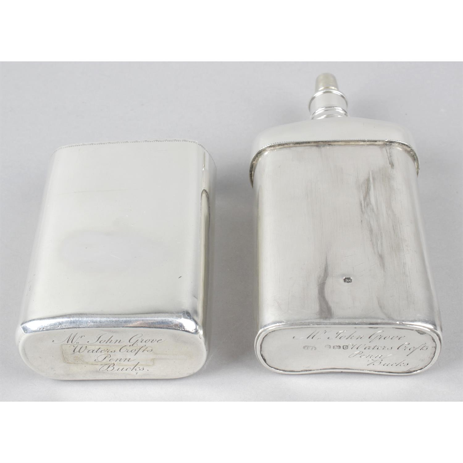 A George III silver hip flask. - Image 3 of 5