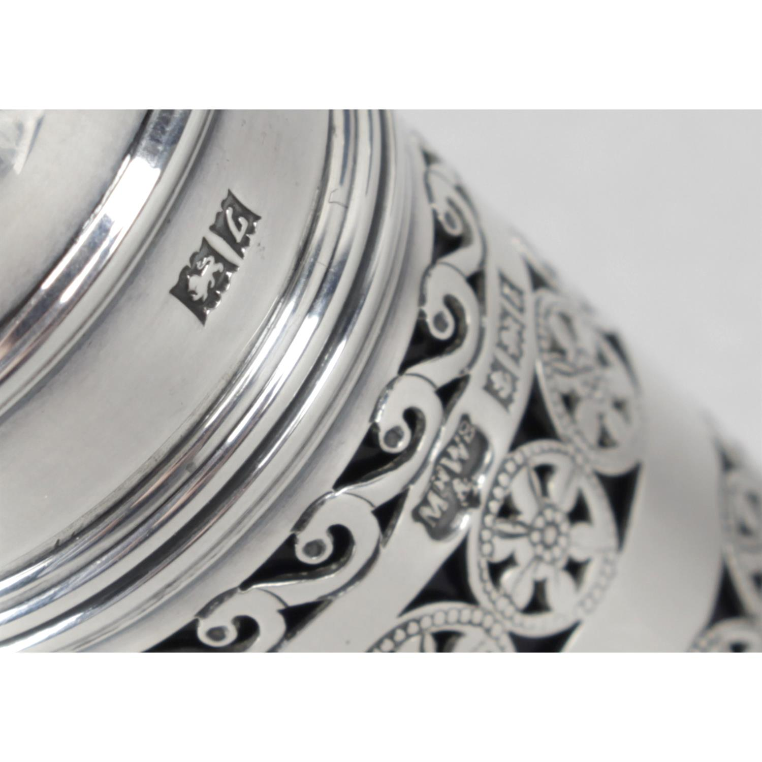 A cased mid-20th century silver three piece condiment set, by Mappin & Webb. - Image 3 of 3