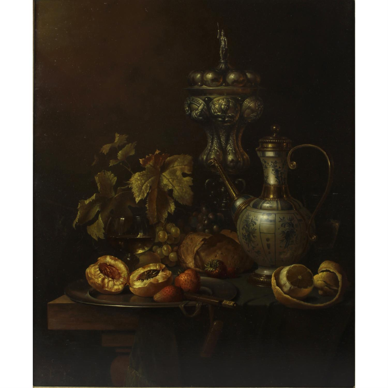 Gyula Bubarnik (b.1936), signed oil on panel still life study of a table of fruit and wine.