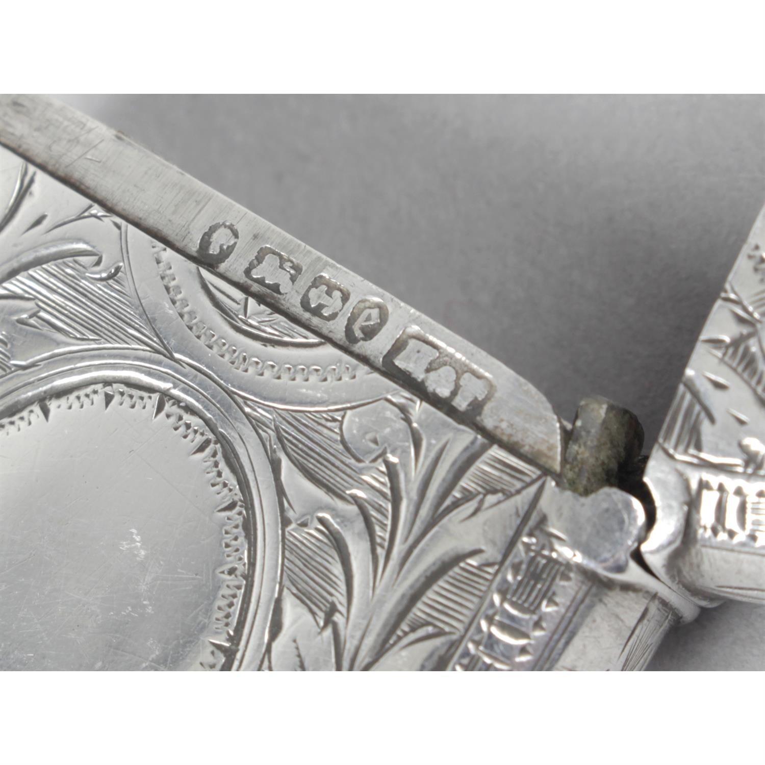 Three late Victorian silver vesta cases, with floral and foliate engraving. (3). - Image 3 of 4