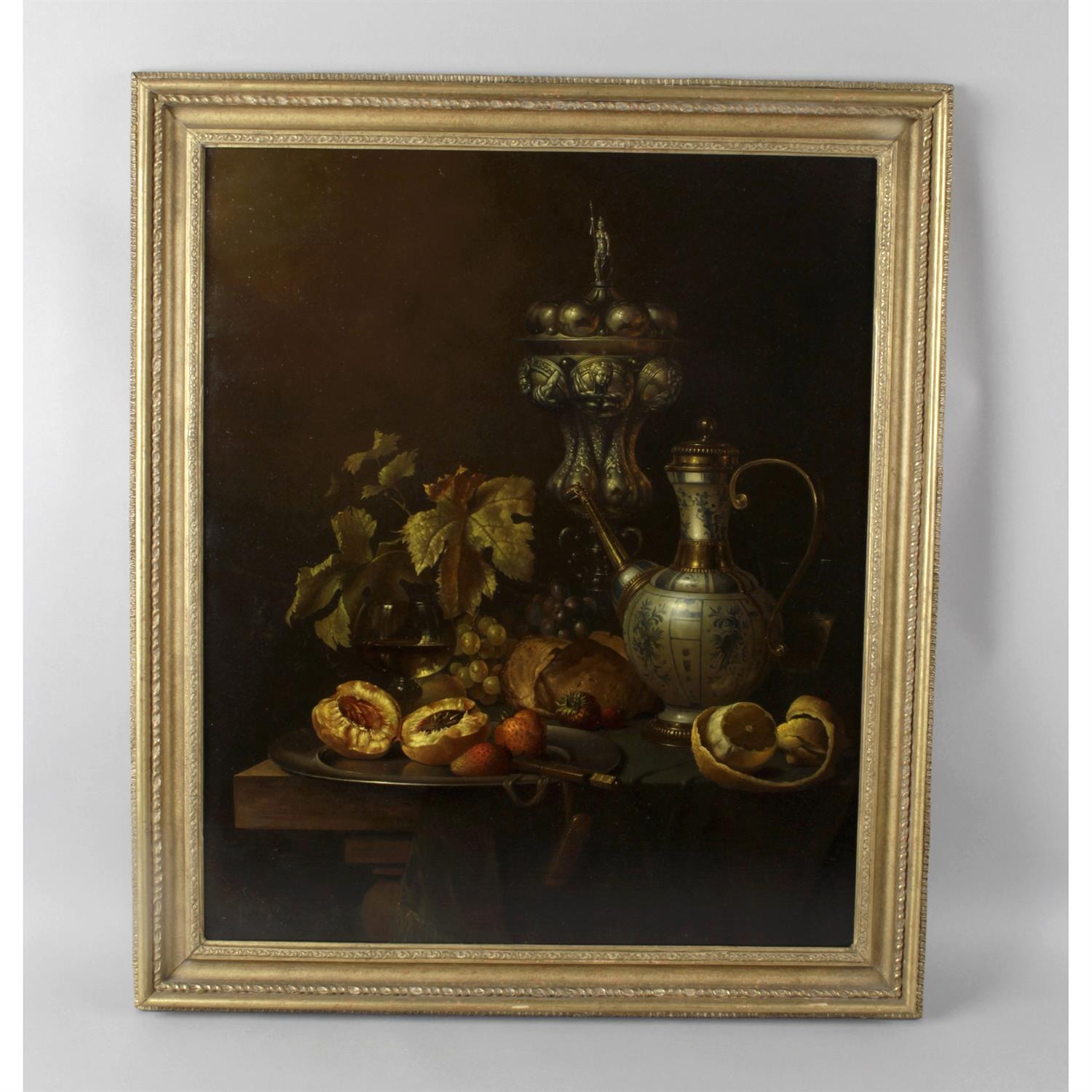 Gyula Bubarnik (b.1936), signed oil on panel still life study of a table of fruit and wine. - Image 2 of 2