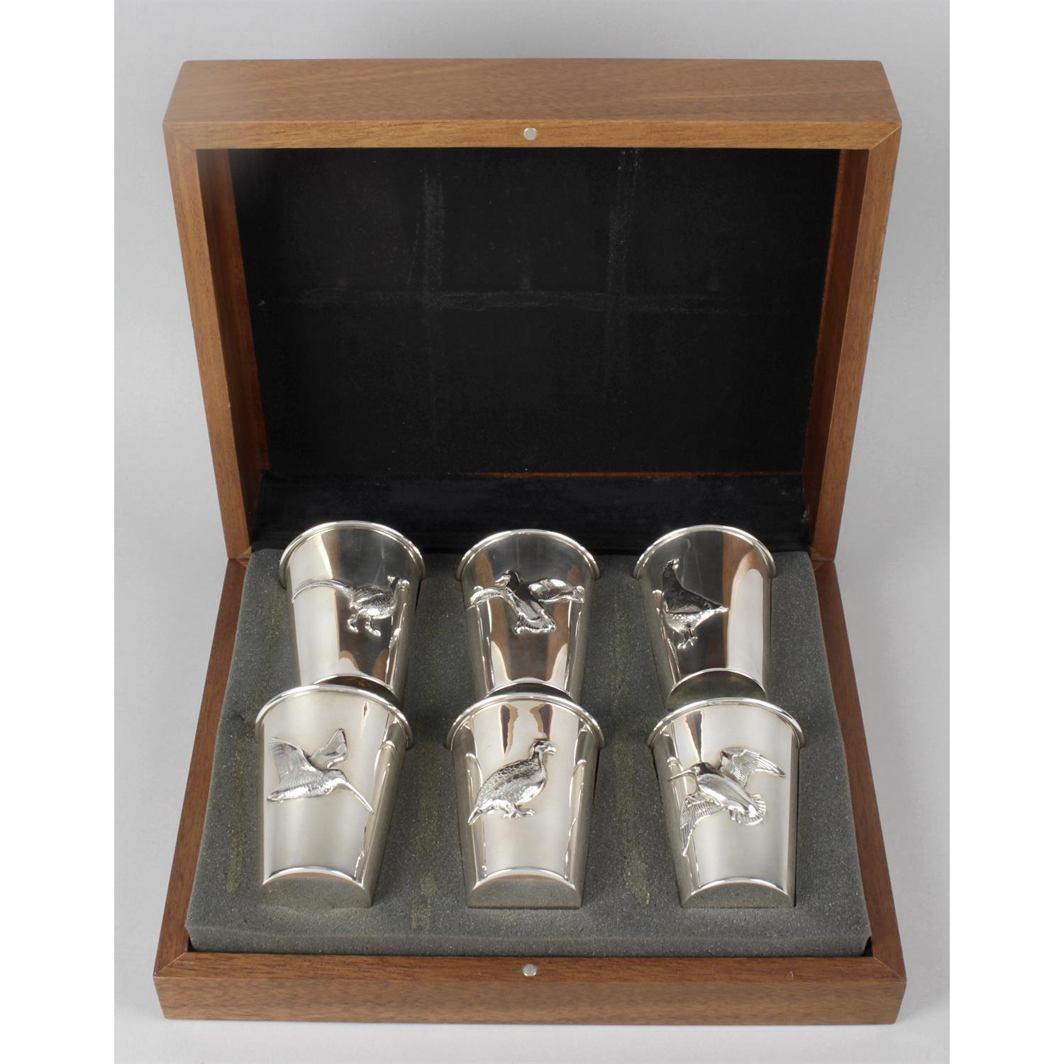 A modern cased set of six silver game bird cups. - Image 3 of 3