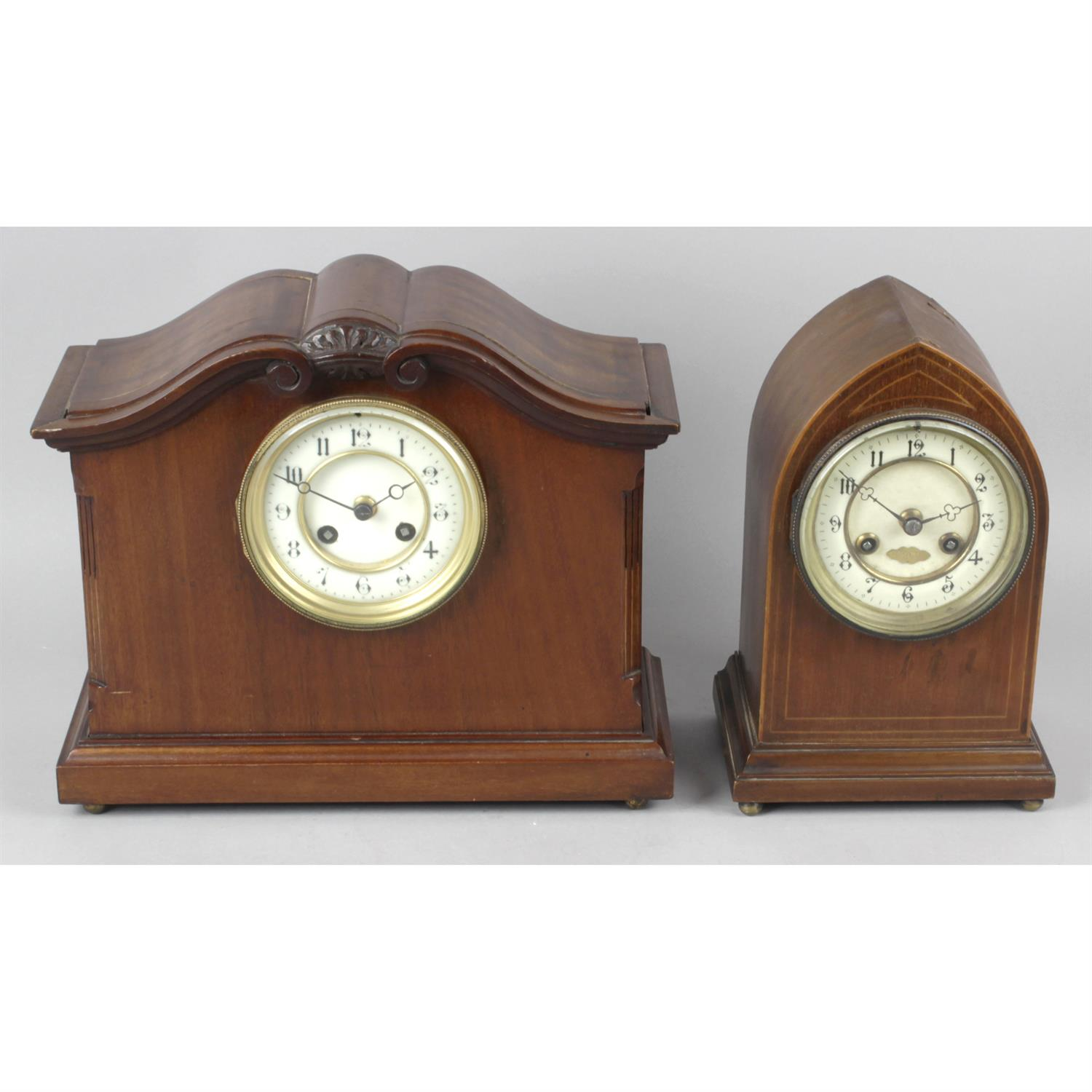 An Edwardian mahogany and line inlaid cased lancet clock