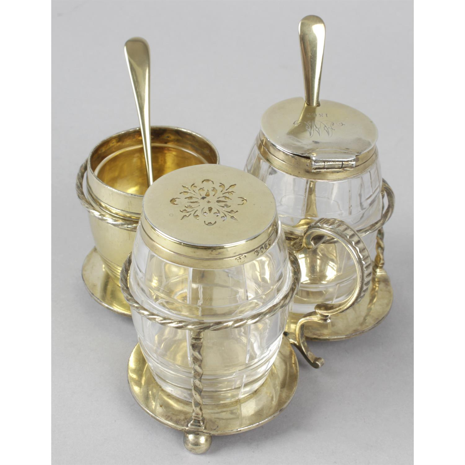 A mid-Victorian silver-gilt and glass cruet set. - Image 2 of 4
