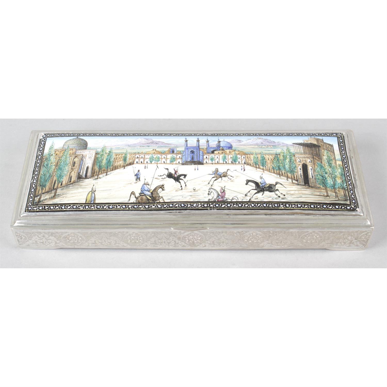 A Persian white metal rectangular box with enamel panel to lid.