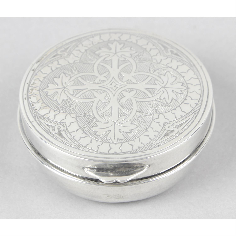 A late Victorian silver communion wafer box.