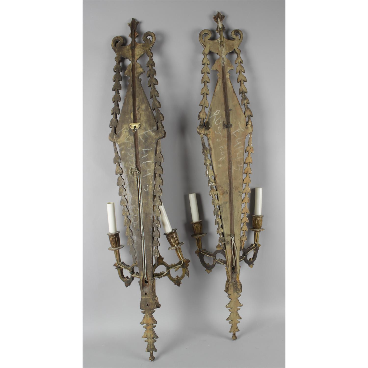 A pair of Giltwood Adam style twin branch wall lights - Image 2 of 3