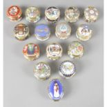 A collection of 26 enamelled trinket boxes