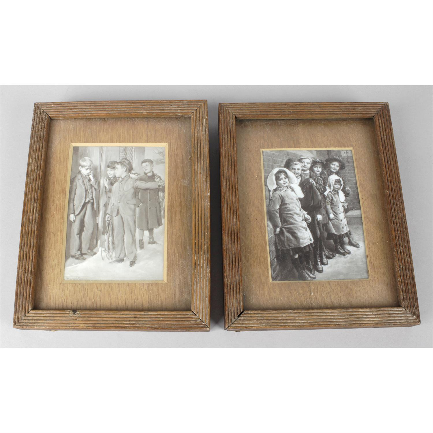 A pair of painted opaque glass panels depicting children.