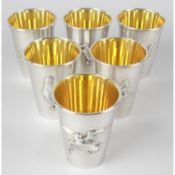 A modern cased set of six silver game bird cups.