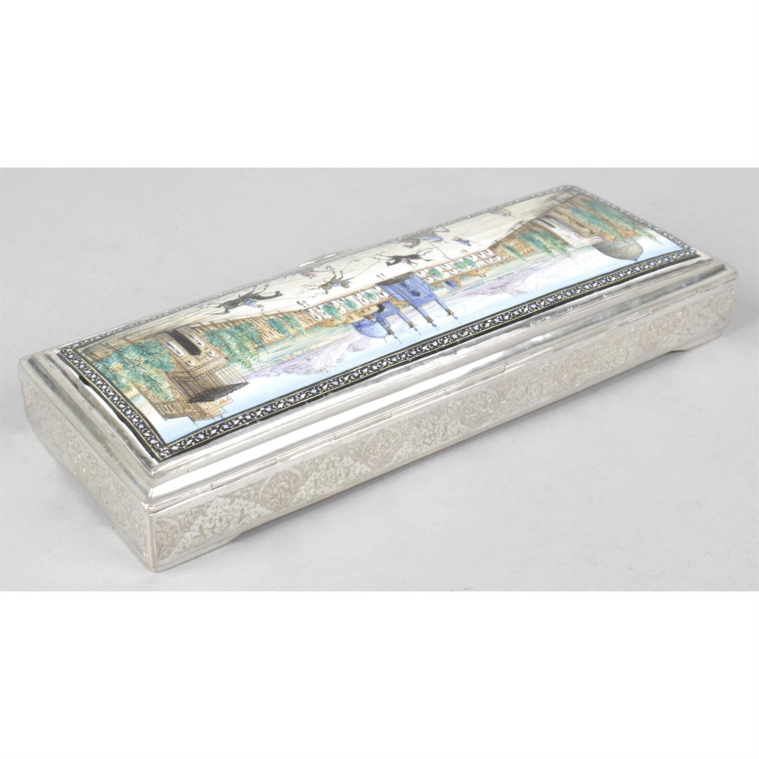 A Persian white metal rectangular box with enamel panel to lid. - Image 2 of 4