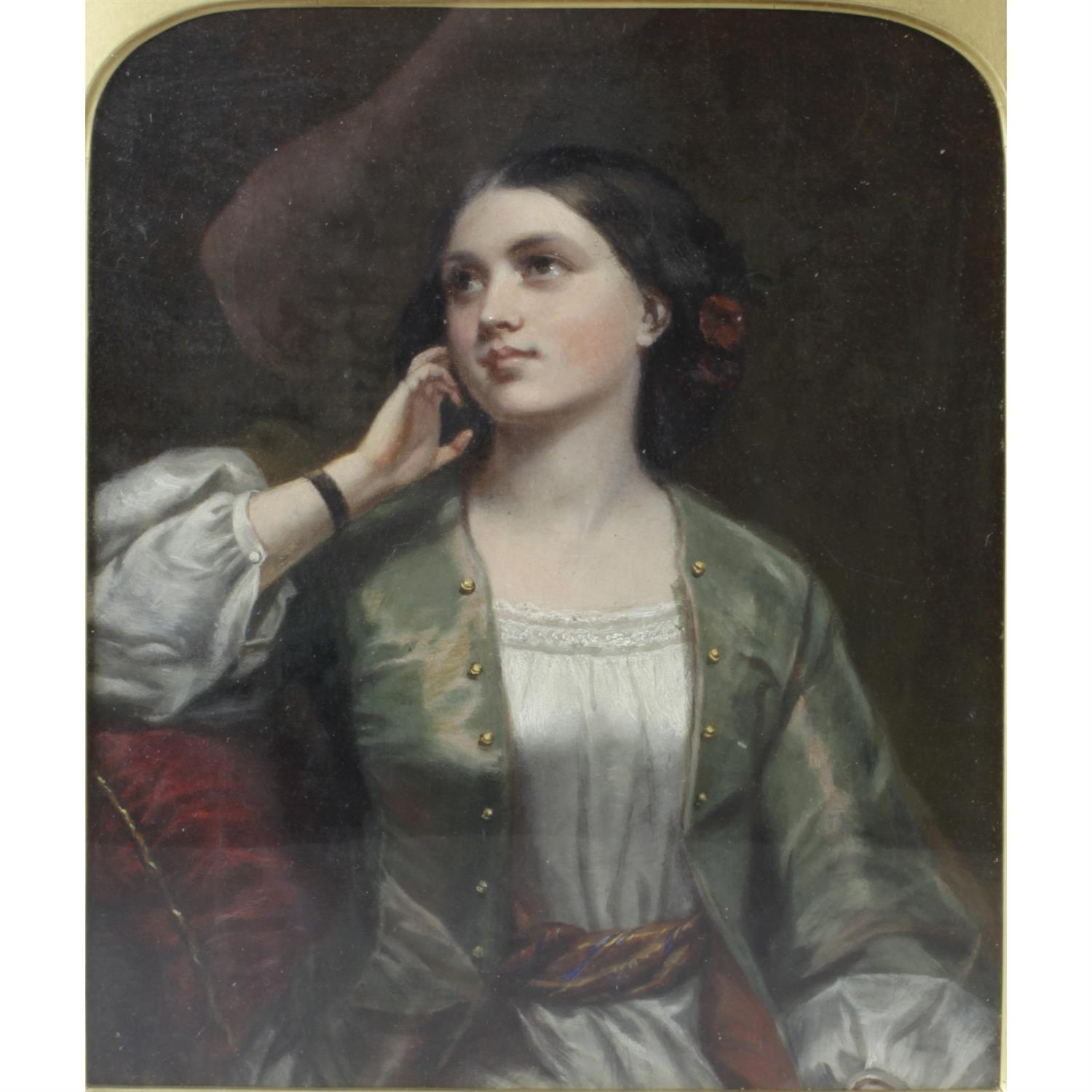 19th century oil painting on canvas, half length portrait of a young lady