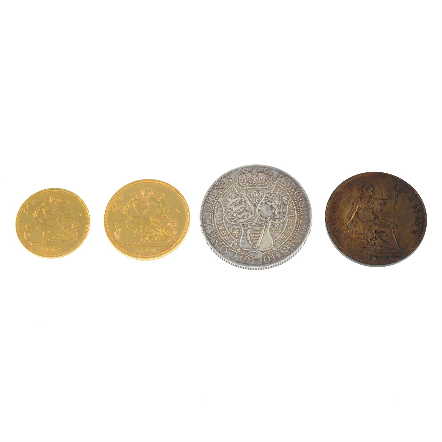 A set of Victoria old head coinage in a contemporary red leather fitted case with a portrait - Image 6 of 6