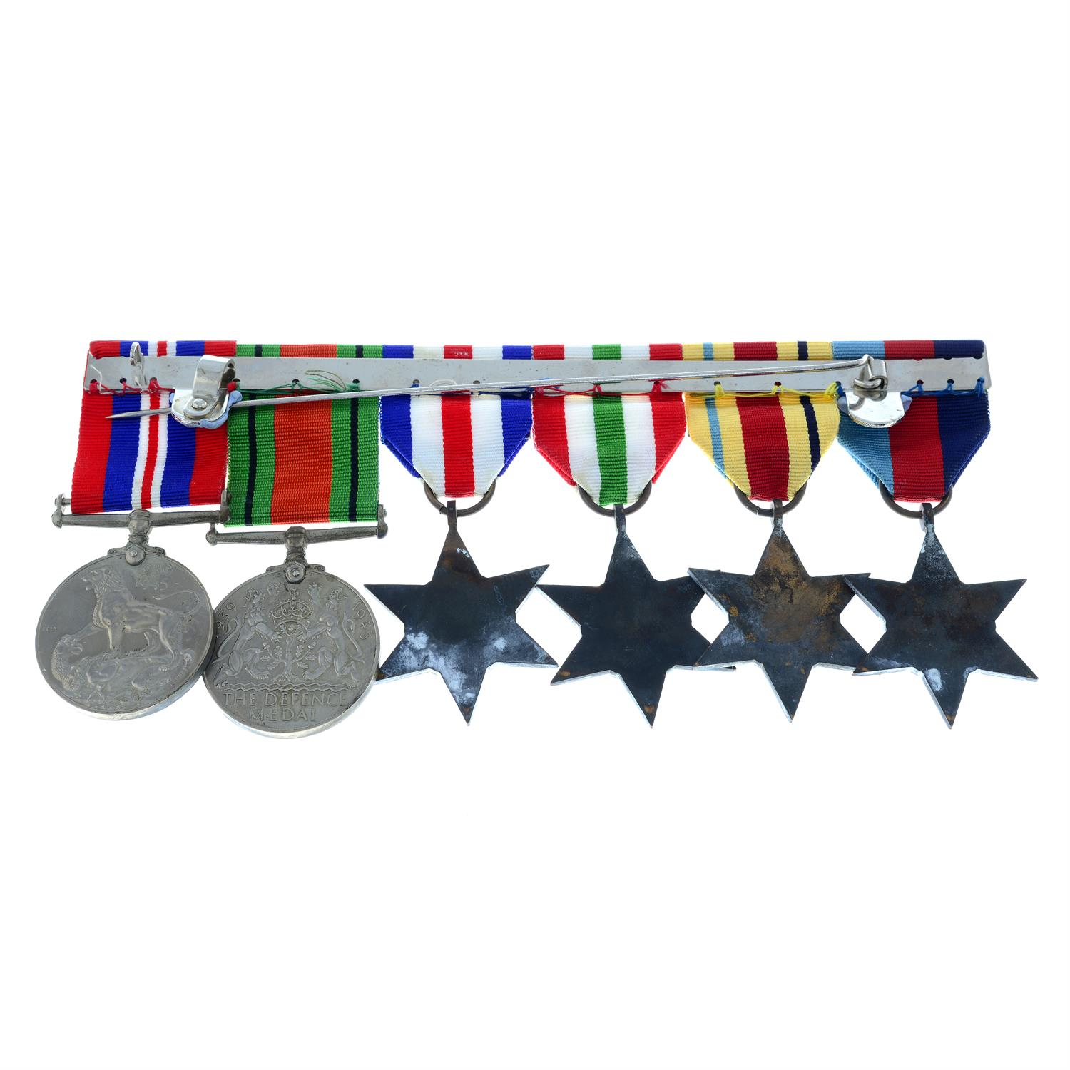 WWII medal group, comprising six medals, together with a Beaufort whistle, Forfar Yeomanry badge, - Image 2 of 5
