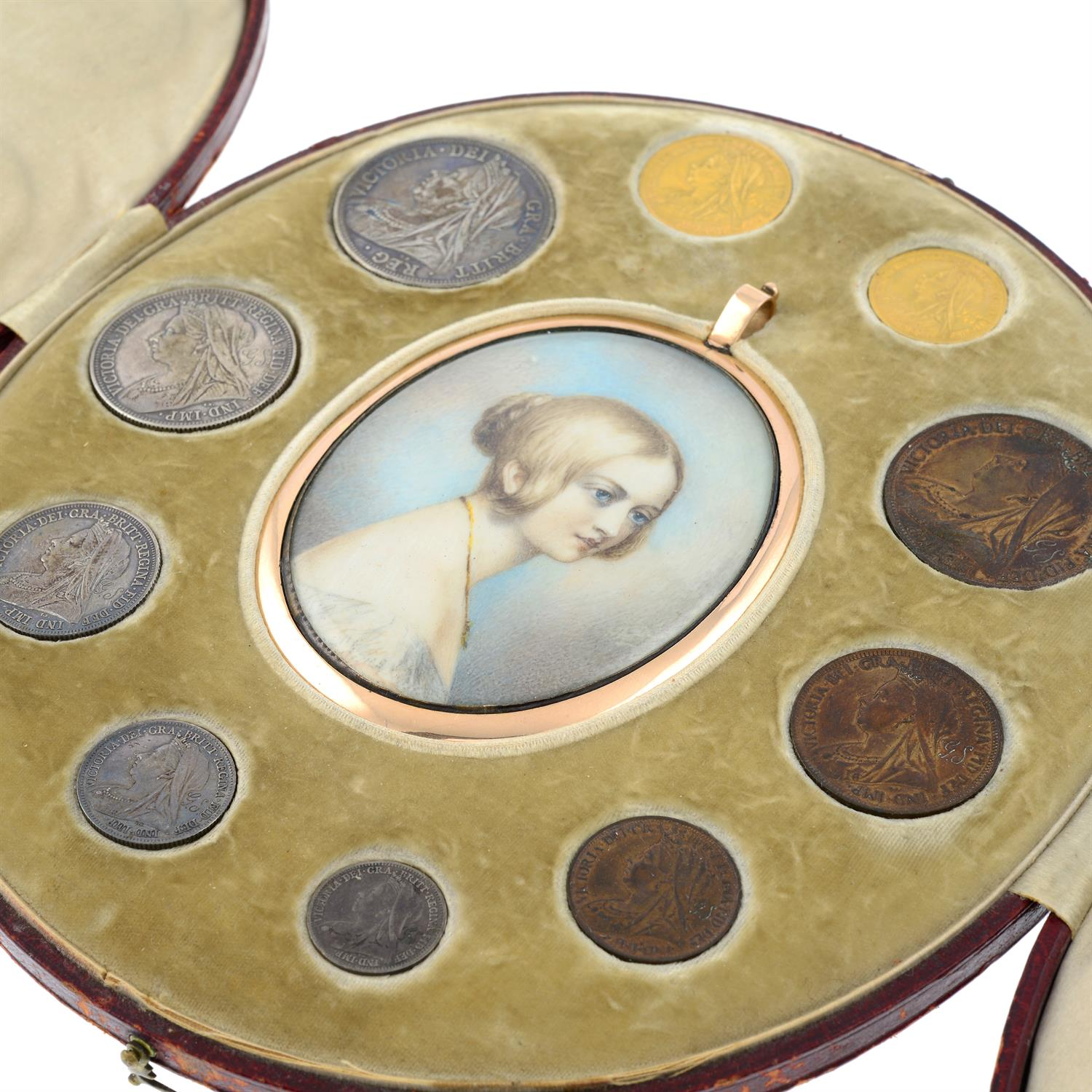 A set of Victoria old head coinage in a contemporary red leather fitted case with a portrait - Image 2 of 6