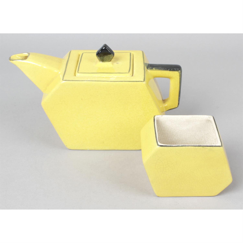 An Art Deco Midwinter Porcelon Burslem teapot and sugar basin.
