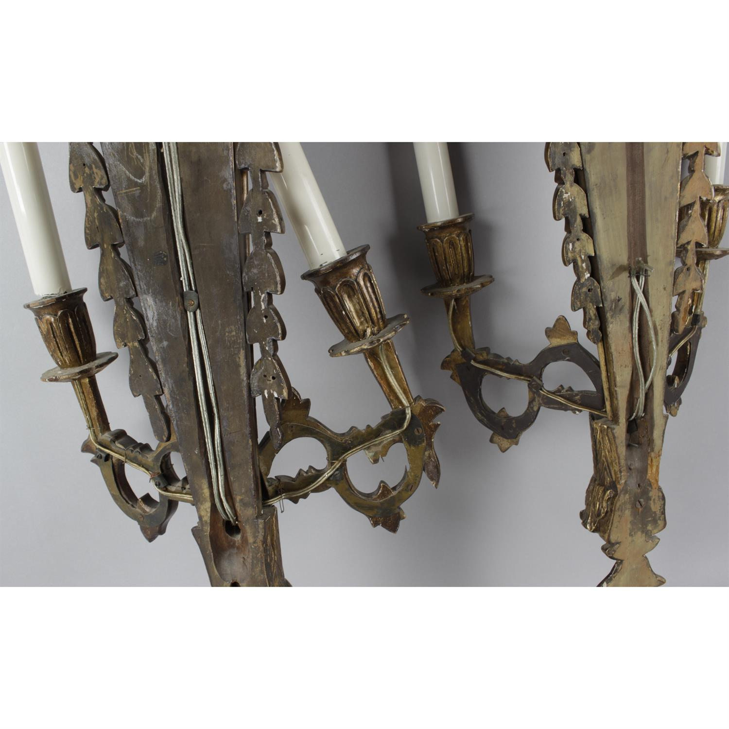 A pair of Giltwood Adam style twin branch wall lights - Image 3 of 3