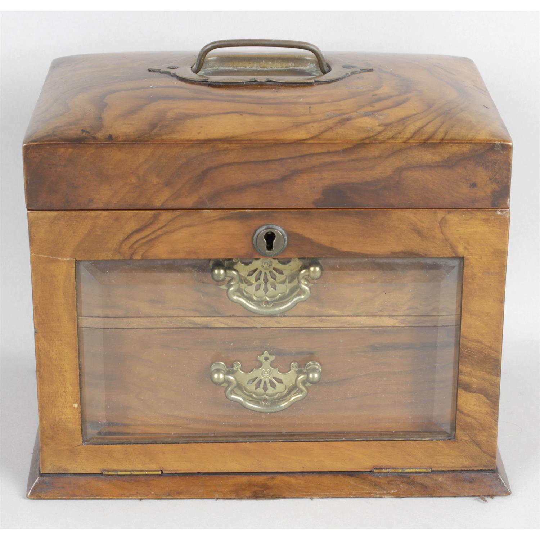 An early 20th century walnut jewellery box