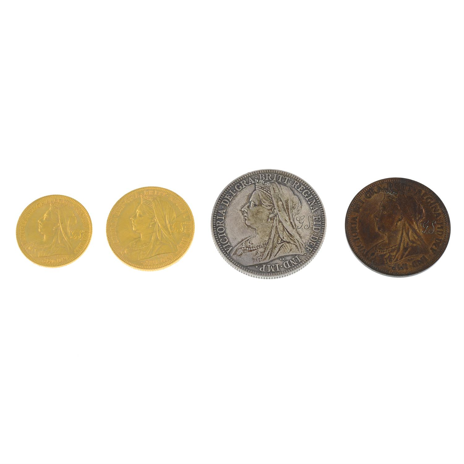 A set of Victoria old head coinage in a contemporary red leather fitted case with a portrait - Image 5 of 6
