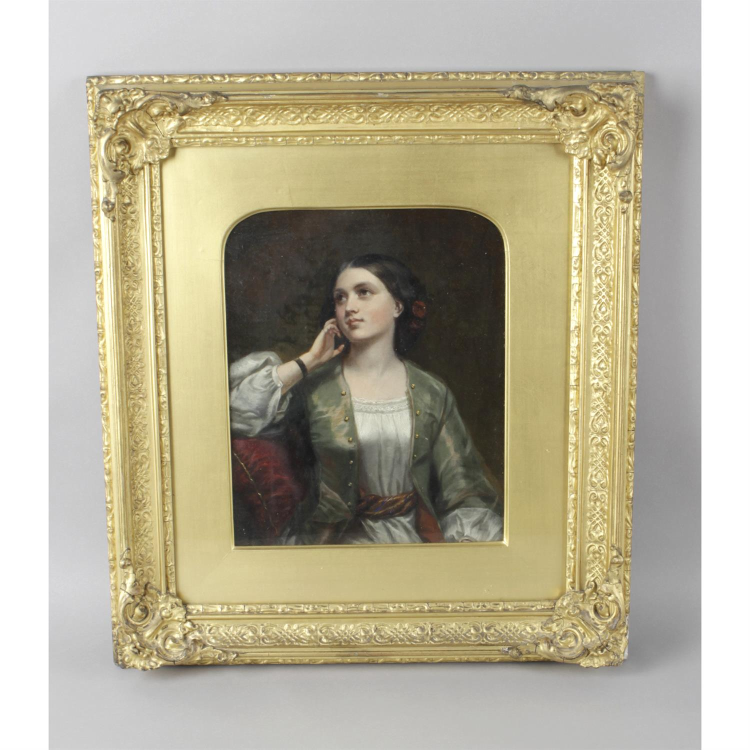 19th century oil painting on canvas, half length portrait of a young lady - Image 2 of 2