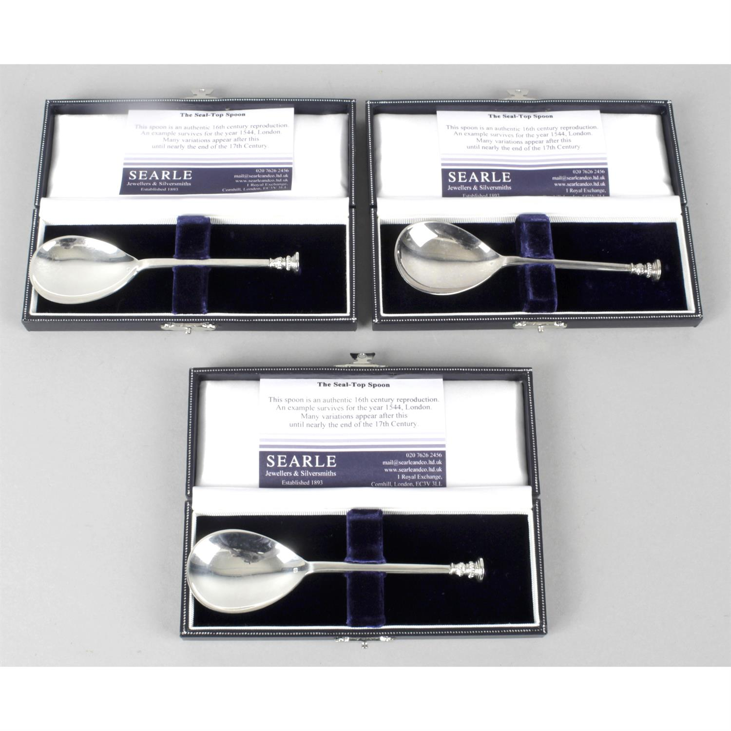 Three silver reproduction 16th century style seal-top spoons.