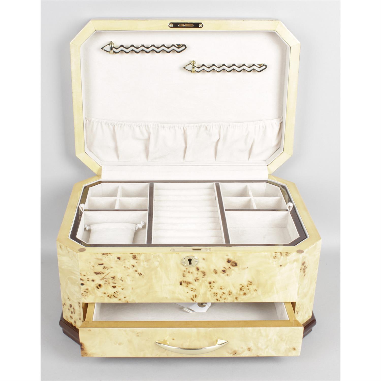 A modern burr wood veneered jewellery box. - Image 2 of 2