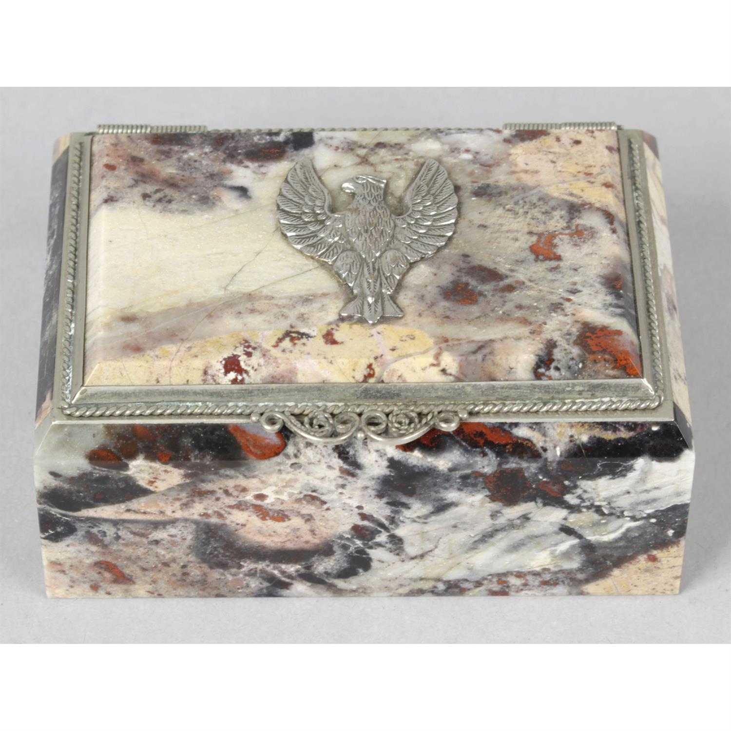 A marble and white metal mounted trinket box.