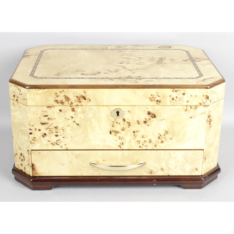 A modern burr wood veneered jewellery box.