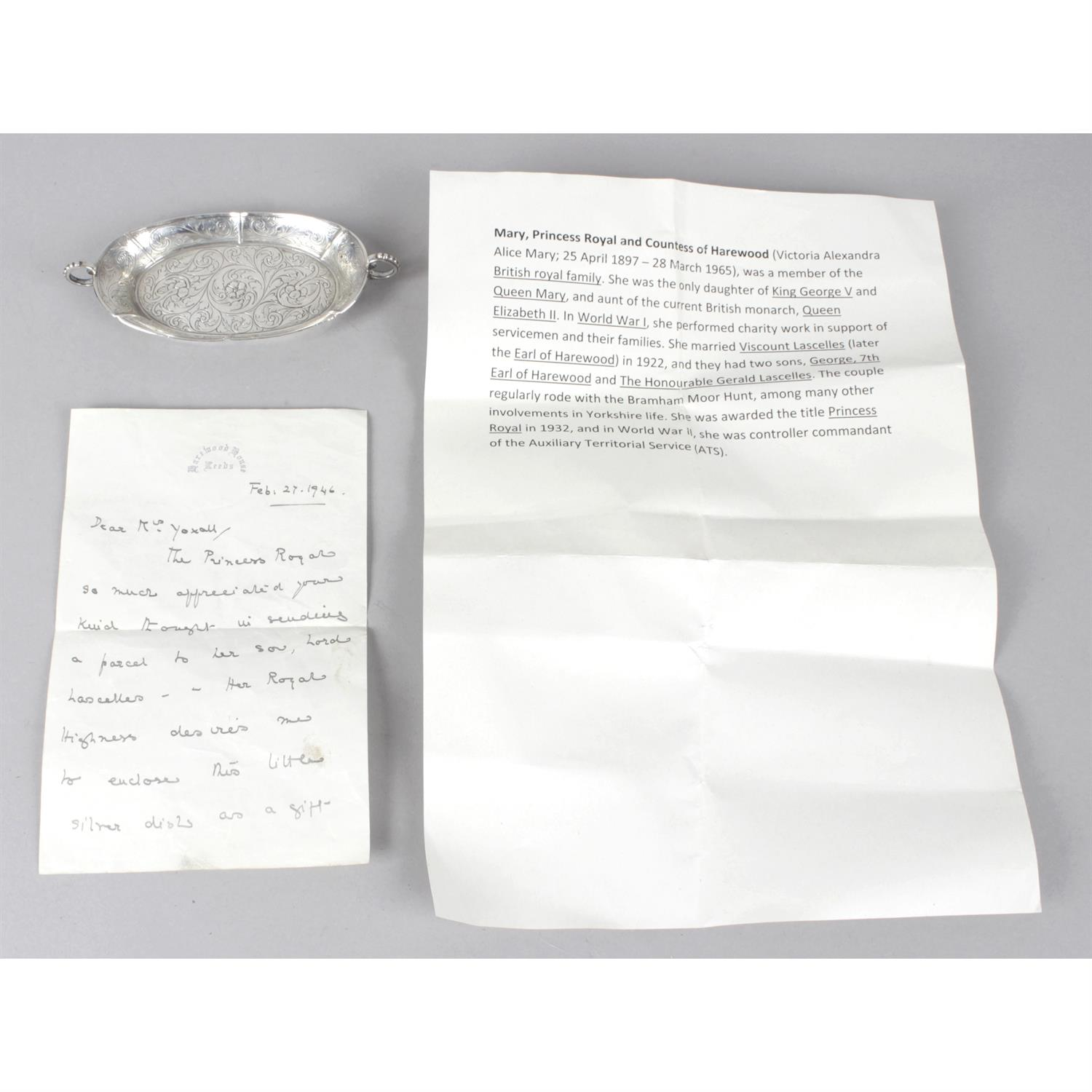 A silver trinket dish, given as a gift with accompanying letter of royal interest. - Image 3 of 3