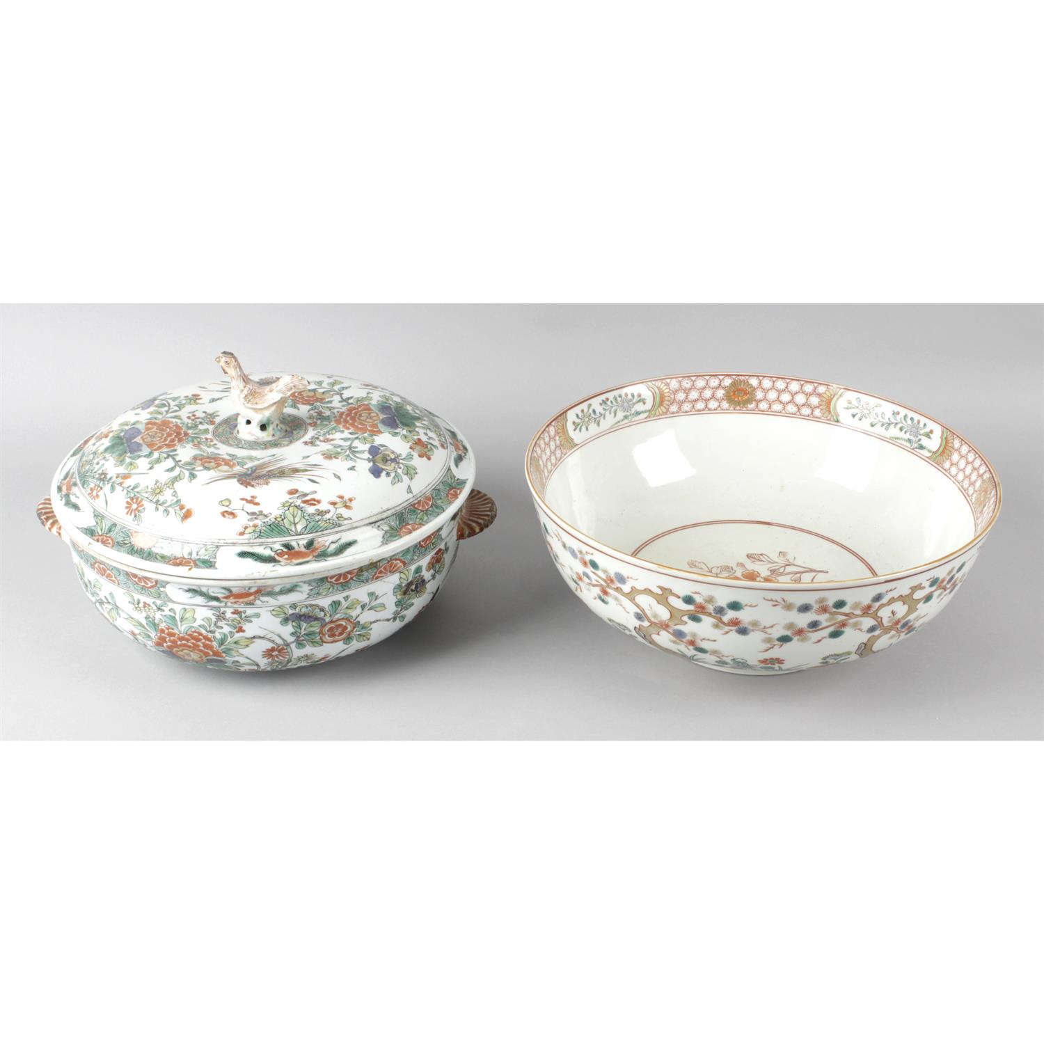 A twin handled oriental dish with cover together with an Imari bowl.