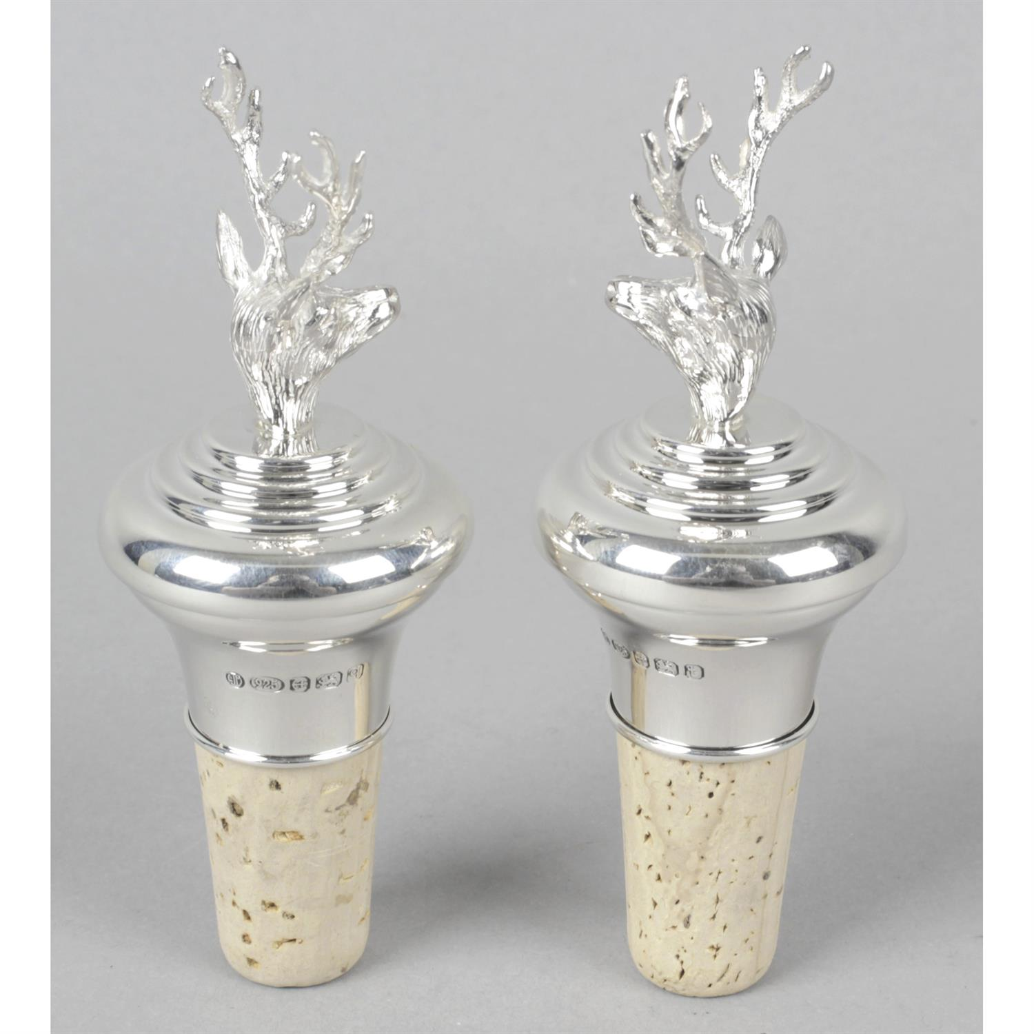 A pair of silver mounted and cork bottle stops. - Image 2 of 2